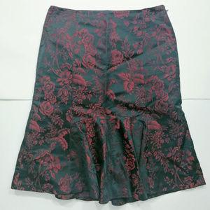 Ann Taylor Rose Pattern Skirt Ruffle Zipper